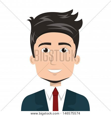 avatar business man smiling cartoon wearing suit and tie. vector illustration
