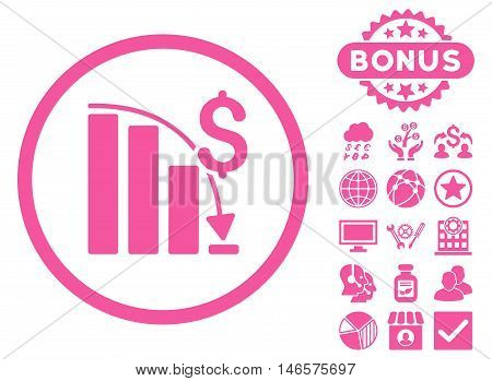 Epic Fail Chart icon with bonus. Vector illustration style is flat iconic symbols, pink color, white background.