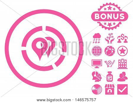 Geo Diagram icon with bonus. Vector illustration style is flat iconic symbols, pink color, white background.