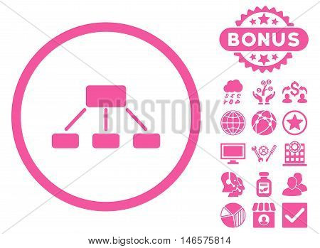 Hierarchy icon with bonus. Vector illustration style is flat iconic symbols, pink color, white background.
