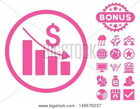 Recession Chart icon with bonus. Vector illustration style is flat iconic symbols, pink color, white background.