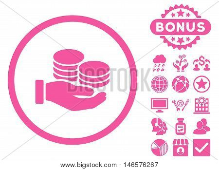 Salary Coins icon with bonus. Vector illustration style is flat iconic symbols, pink color, white background.