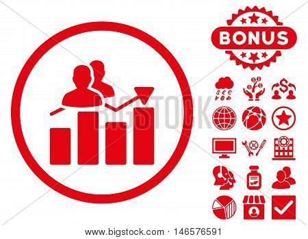 Audience Graph icon with bonus. Vector illustration style is flat iconic symbols, red color, white background.