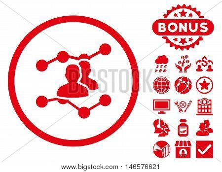 Audience Trends icon with bonus. Vector illustration style is flat iconic symbols, red color, white background.