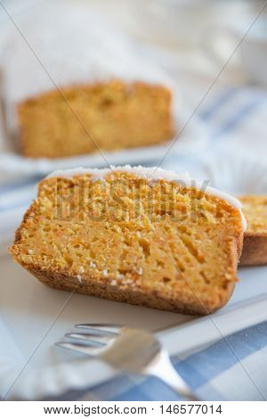 home made carrot cake on a plate