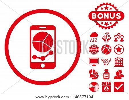Mobile Graphs icon with bonus. Vector illustration style is flat iconic symbols, red color, white background.
