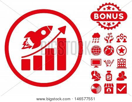 Rocket Startup Graph icon with bonus. Vector illustration style is flat iconic symbols, red color, white background.
