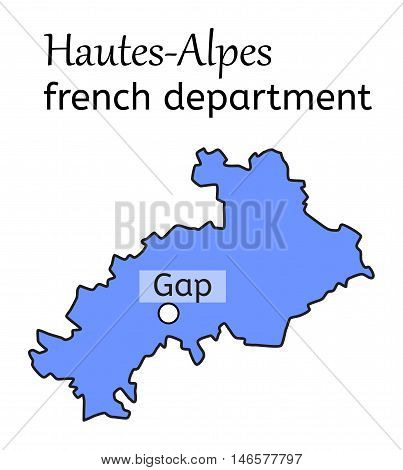 Hautes-Alpes french department map on white in vector
