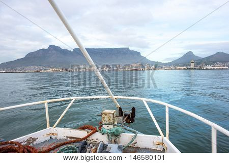 View Of Table Mountain From The Bow Of Boat