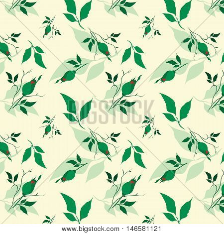 seamless floral vector pattern with roses, leaves, petals. Eps10 illustration