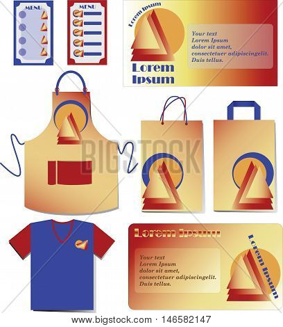 Fast food. Set design. Models of corporate identity for the company. Branding mock up.