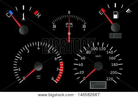 Dashboard with gauge. Speedometer tachometer fuel temperature accumulator charge gauge. Vector illustration on white background