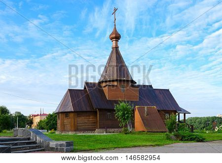 VITEBSK BELARUS - JULY 13 2016: Wooden Church of St. Prince Alexander Nevsky Vitebsk Belarus