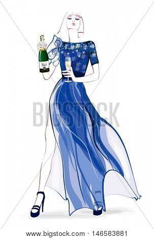 Woman in evening dress with glass and bottle of champagne - vector illustration
