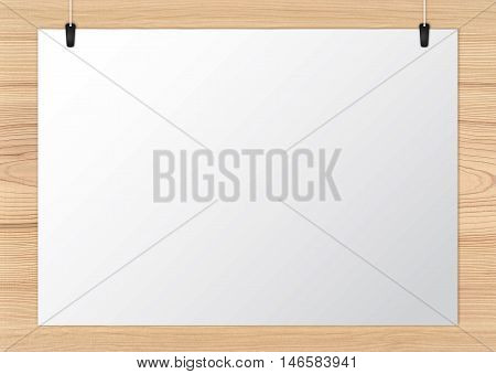 Notice board attached on the wooden background