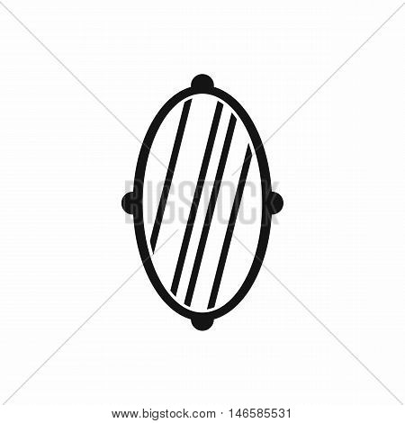 Oval mirror frame in simple style isolated on white background vector illustration