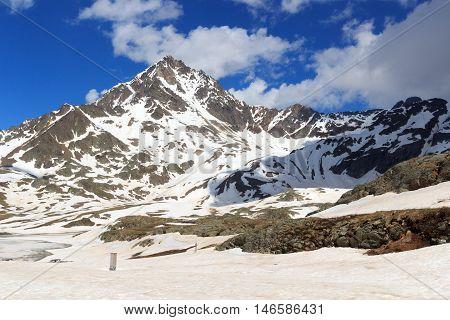 Alpine Mountain Corno Dei Tre Signori And Snowfield In Stelvio National Park, Italy