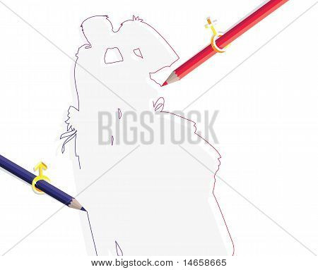 Pencils With Sex Symbols Drawing Wedding Couple