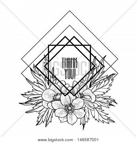 Graphic floral card. Vector leaves and flowers in cute vignette isolated on white background. Wedding style decorations in balck and white colors. Coloring book page design for adults and kids
