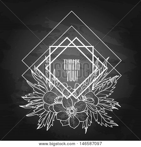 Graphic floral card. Vector leaves and flowers in cute vignette isolated on the chalkboard. Wedding style decorations in balck and white colors