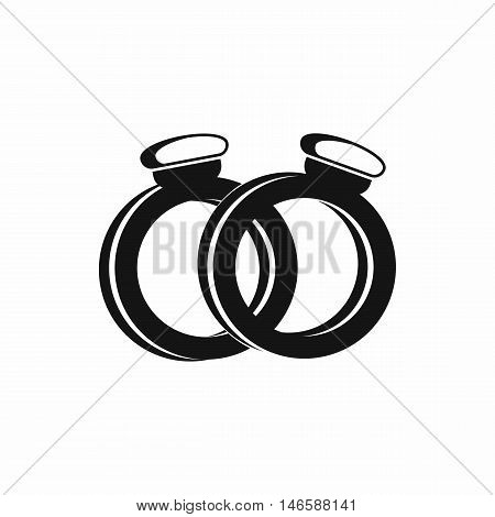A pair of gold wedding rings in simple style isolated on white background vector illustration