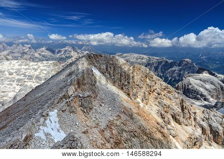 Northern ridge of Piz Boe on background Sassongher mount and Odle-Puez group Trentino Italy