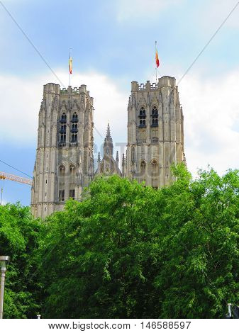 The Cathedrale Sts Michel et Gudule in Brussels on a sunny day