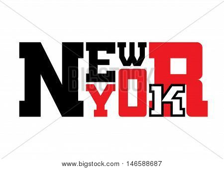 T shirt typography graphics New York. Athletic style NYC. Fashion stylish print for sports wear. Black white red emblem. Template for apparel card label poster. Symbol big city. Vector illustration