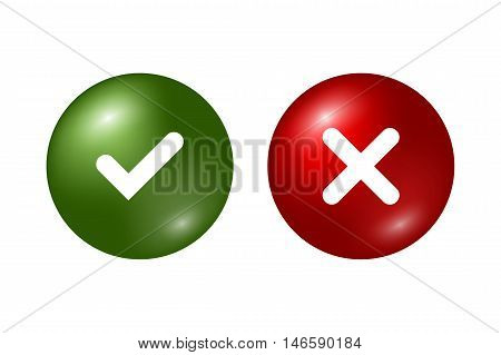 Tick and cross signs. Green checkmark OK and red X icons isolated on white background. Marks graphic design. Circle symbols YES and NO button for vote decision web. Vector illustration