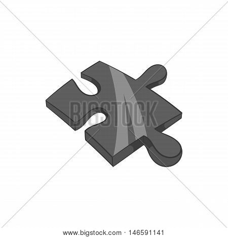 Piece of puzzle icon in black monochrome style isolated on white background. Childrens toy symbol vector illustration