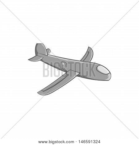 Childrens plane icon in black monochrome style isolated on white background. Toy symbol vector illustration