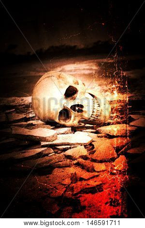 Human skull on ruins place,Horror Background For Halloween Concept And Movie Poster Project
