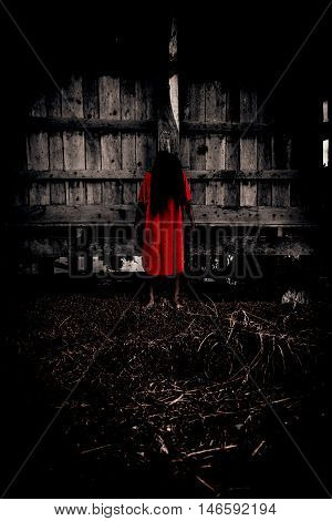 Scary ghost woman in Haunted House,Horror background for book cover