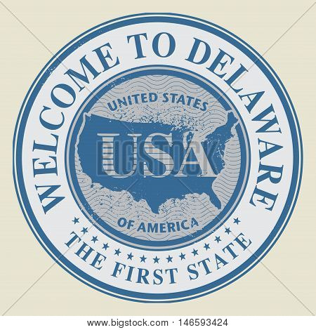Grunge rubber stamp with text Welcome to Delaware, vector illustration