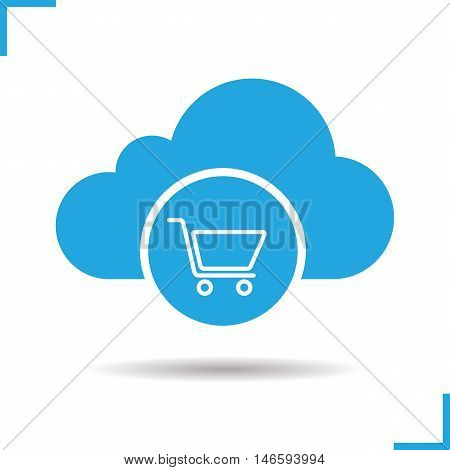 Buy cloud storage space icon. Drop shadow silhouette symbol. Shopping cart. Cloud computing. Vector isolated illustration