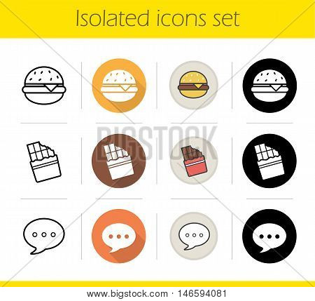 Food icons set. Flat design, linear, black and color styles. Burger, bitten chocolate bar and chat bubble. Fast food. Isolated vector illustrations