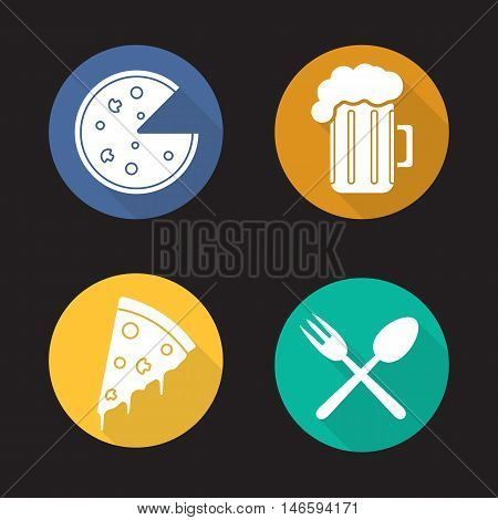 Pizzeria flat design long shadow icons set. Pizza slice, foamy beer glass, fork and spoon eatery symbol. Bar. Vector silhouette symbols