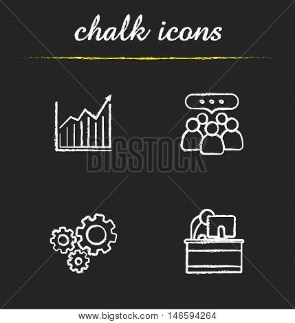 Business chalk icons set. Income growth chart, team communication, teamwork, cooperation, office manager, cogwheels illustrations. Isolated vector chalkboard drawings
