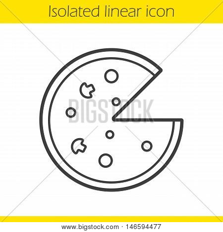 Pizza linear icon. Thin line illustration. Pizzeria contour symbol. Vector isolated outline drawing