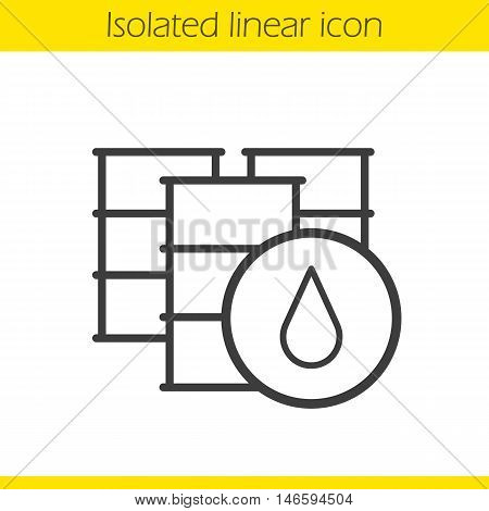 Oil barrels linear icon. Thin line illustration.Contour symbol. Vector isolated outline drawing