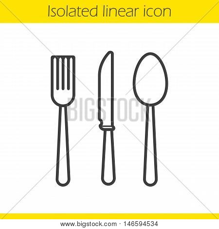 Cutlery set linear icon. Thin line illustration. Fork, spoon and knife contour symbol. Vector isolated outline drawing