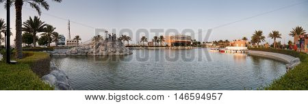 HIDD, BAHRAIN - SEPTEMBER 10, 2016: Panoramic shot of a boating area and gymnasium in Prince Khalifa Bin Salman Park
