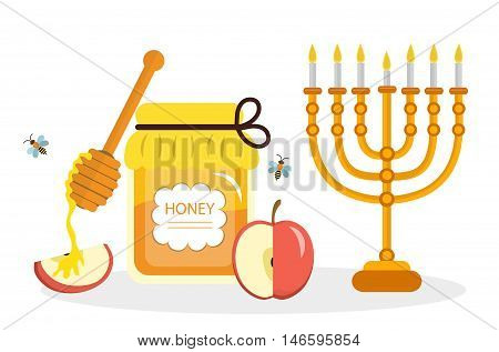 Greeting card for the Jewish New Year Rosh Hashanah Shana Tova. Rosh Hashanah greeting card. Honey and apples menorah. Vector illustration