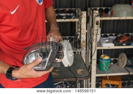 Checking Car Headlight