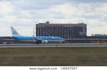MOSCOW, RUSSIA - APRIL 14, 2015: The Boeing 737-800 (PH-BGA) KLM Royal Dutch Airlines landed at the airport Sheremetyevo
