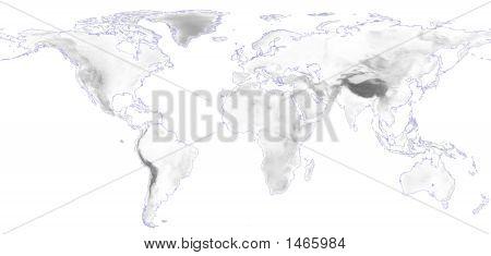 World Elevation Map With Blue Corona