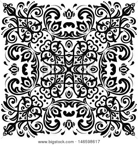 Oriental vector square black pattern with arabesques and floral elements. Traditional classic ornament