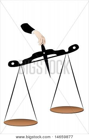 Vector illustration of a scale in a man hand