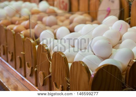 White eggs sold at La Boqueria market in Barcelona. Spain