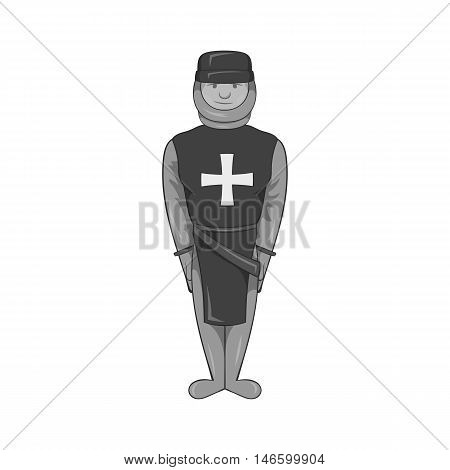 Warrior crusader icon in black monochrome style isolated on white background. Military symbol vector illustration